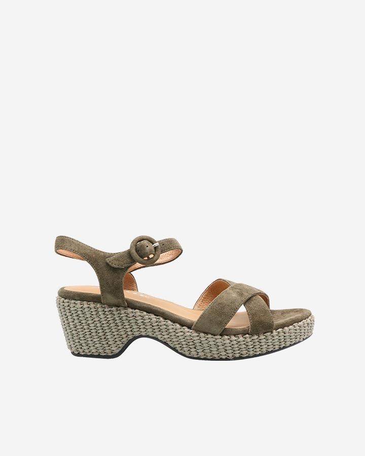 Sandale compensée kaki Kimi