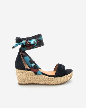 Sandale compensée Navy bleu Nais