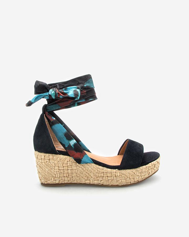 Sandale chic compensée Navy bleu Nais