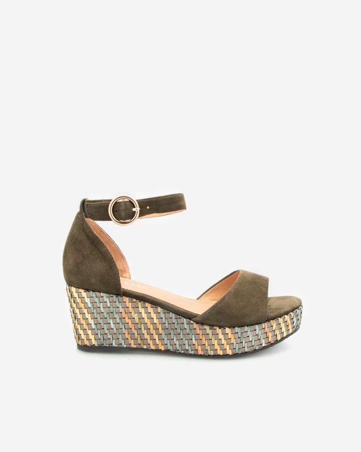 Sandale chic kaki compensée Nessy