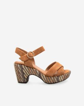 Sandale Rachel Cuir camel semi-compensée
