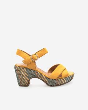 Sandale chic jaune Rachel semi-compensée