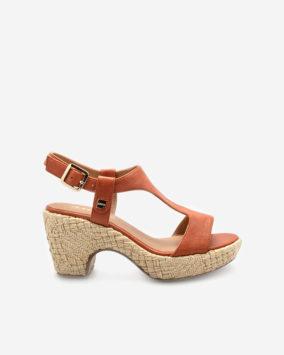 Sandale chic Romy Brique semi-compensée
