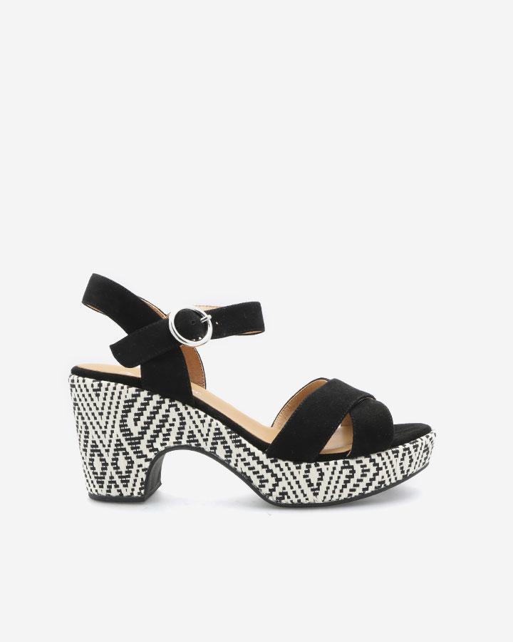 Sandale Rachel noire à talon semi-compensé