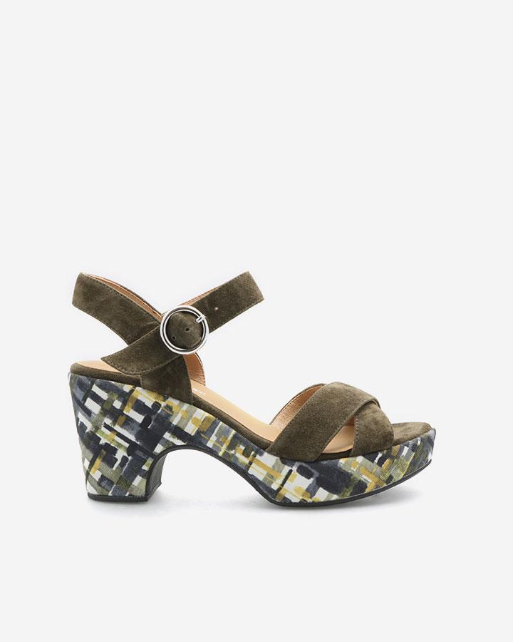 Sandale Rachel kaki à talon semi-compensé imprimé