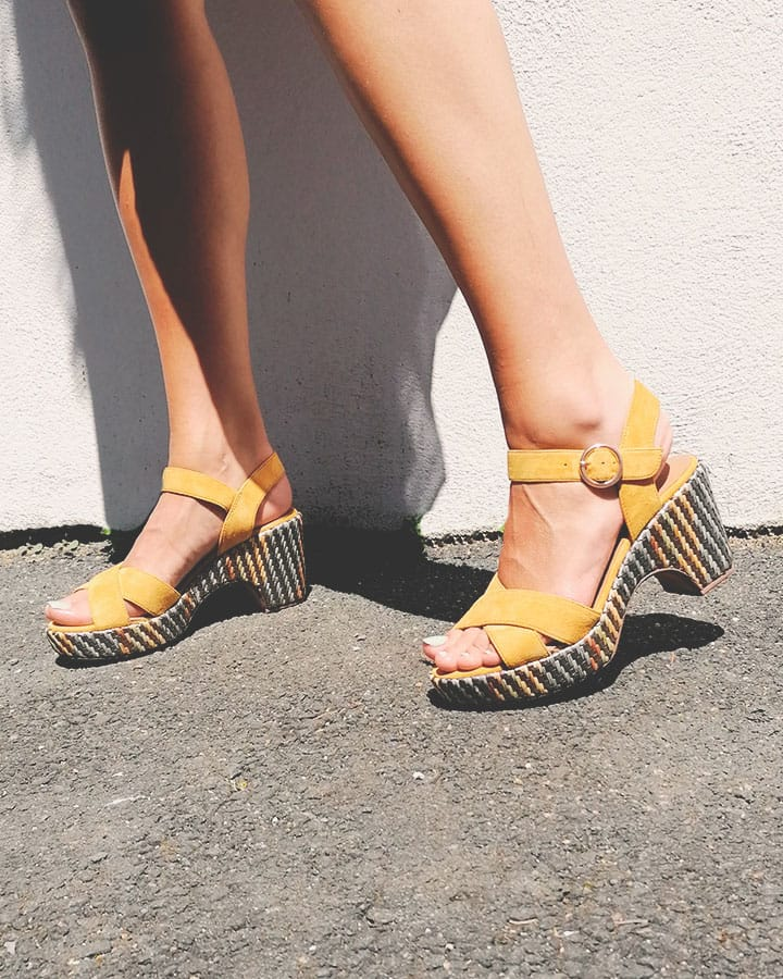 Sandale Chic Femme Rachel jaune compensée