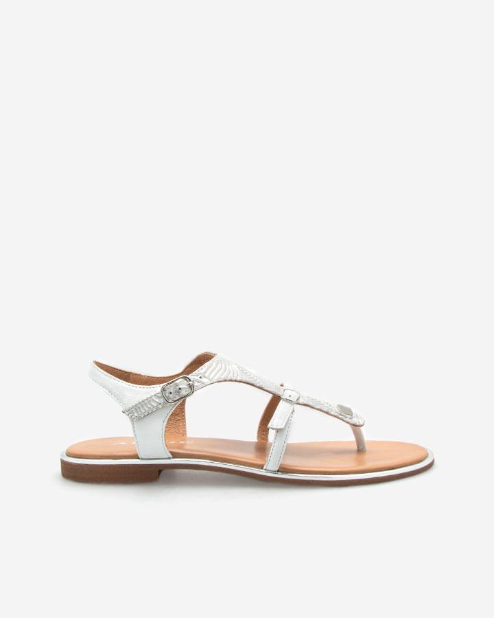 Sandale argentée plate Angel