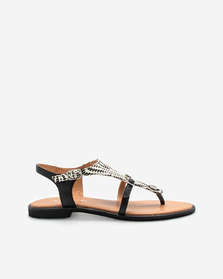 Sandale plate noire et blanc Angel