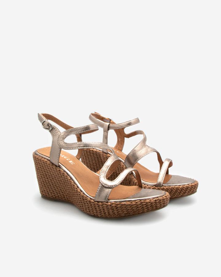 Ferguie sandale compensée dorée