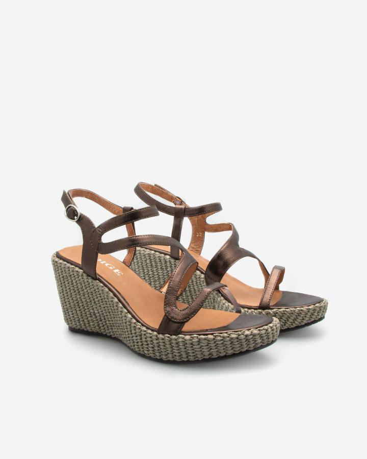 Ferguie sandale compensée bronze