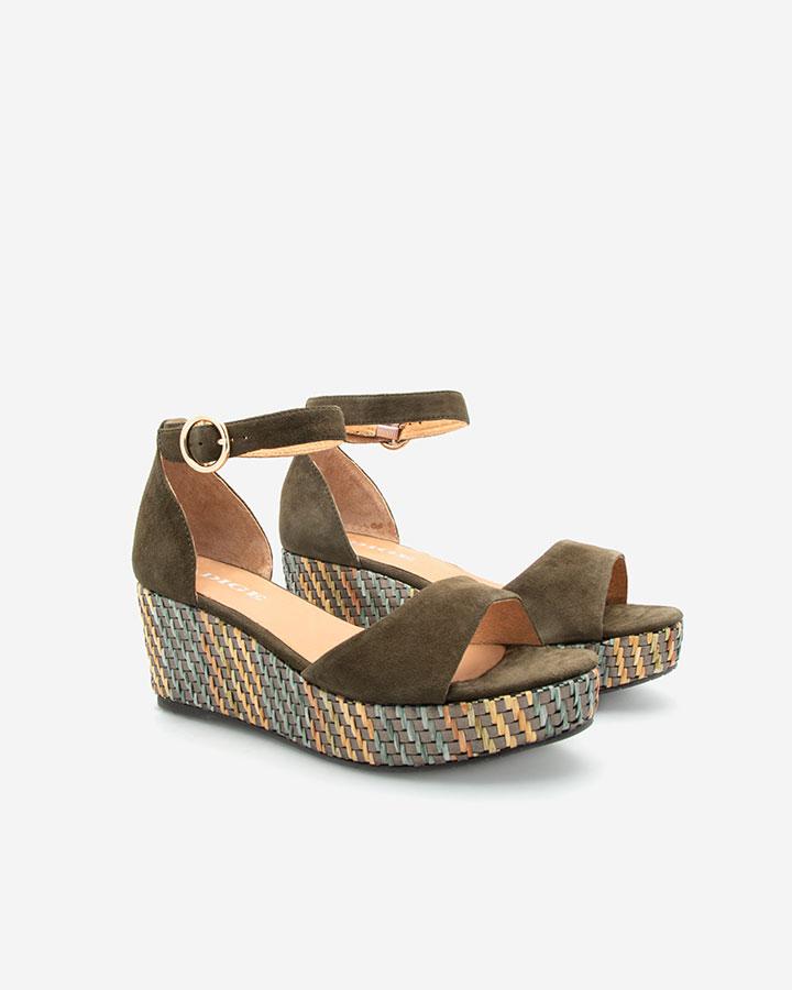 Nessy Sandale compensée kaki