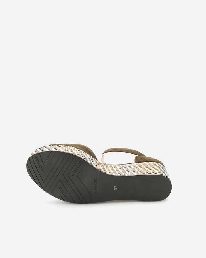 Nessy Sandale chic compensée kaki