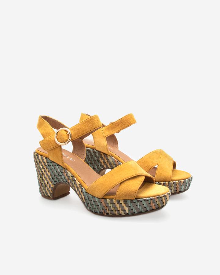 Sandale compensée jaune Rachel