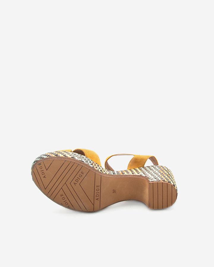 Sandale chic compensée jaune Rachel