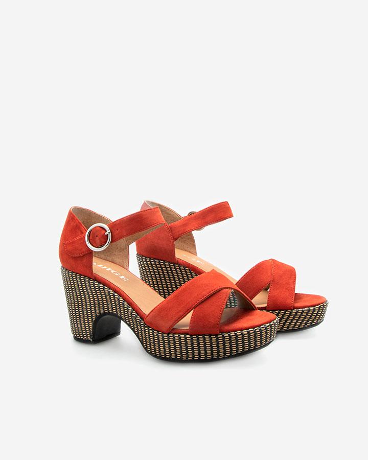 Sandale compensée Rififi Rouge