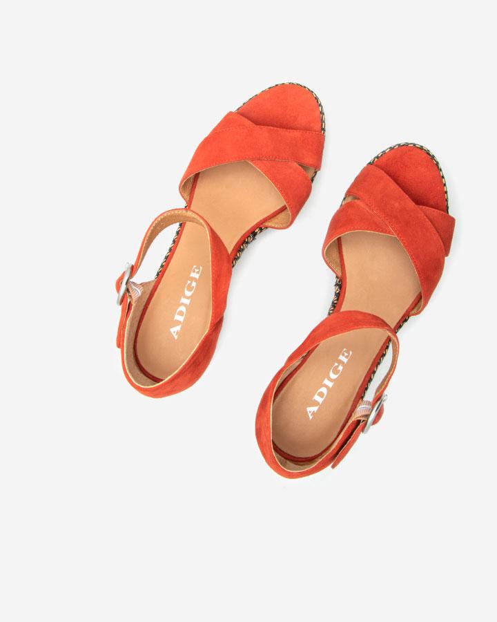Sandale chic compensée Rififi Rouge