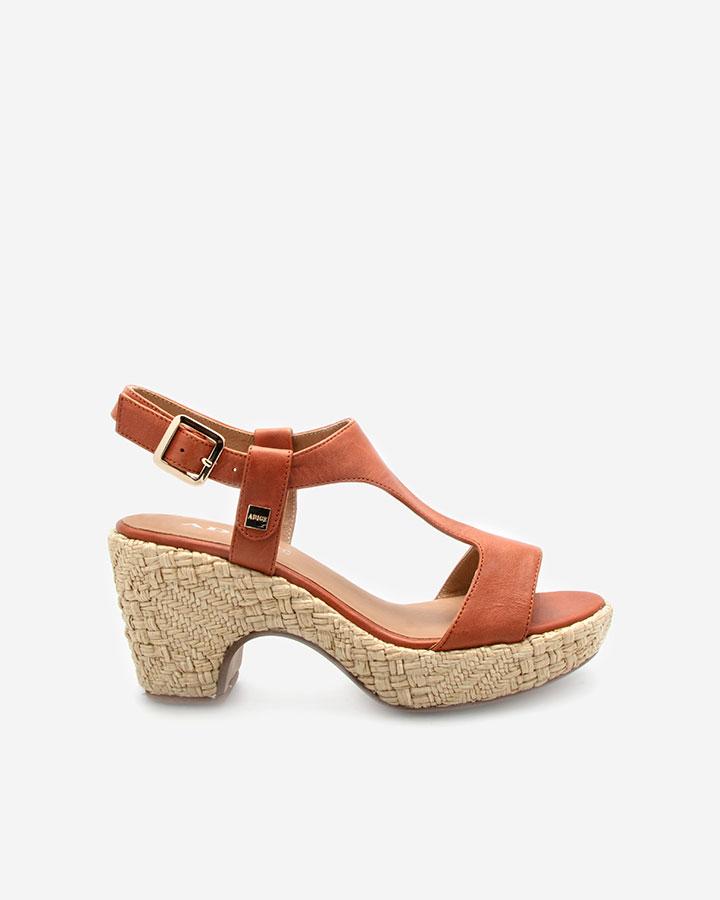 Romy sandale brique compensée
