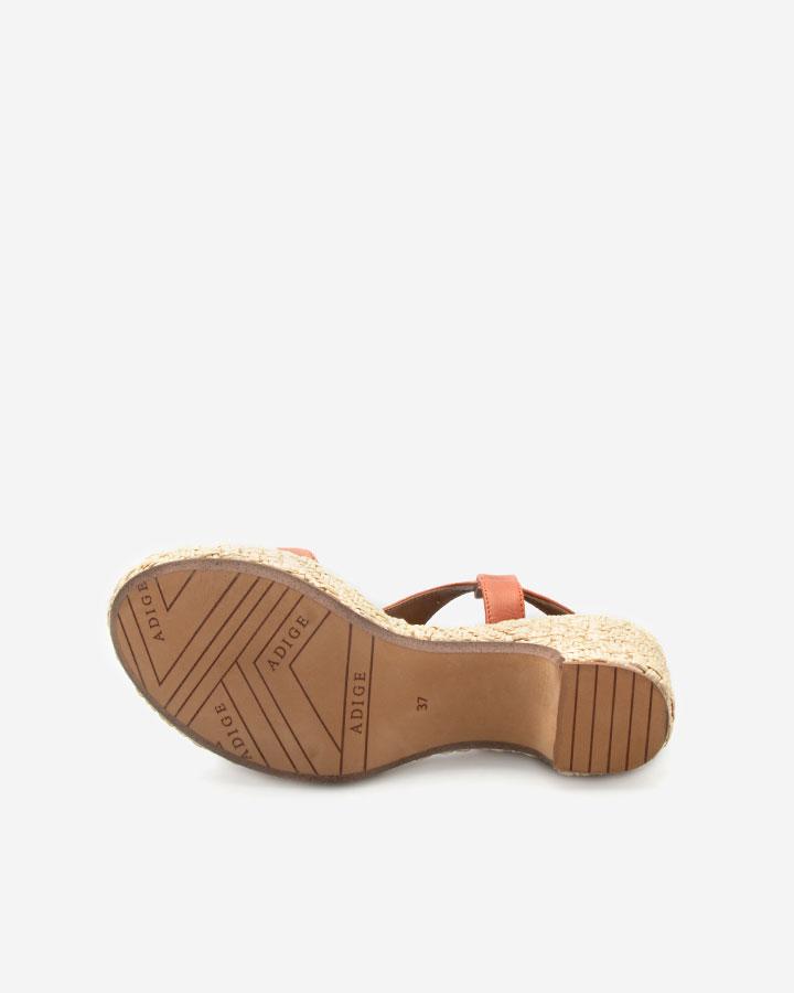 Romy sandale chic brique compensée