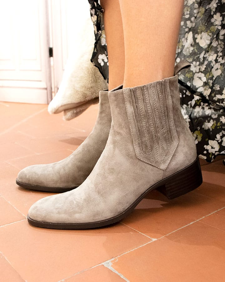 Bottines Carla velours Taupe