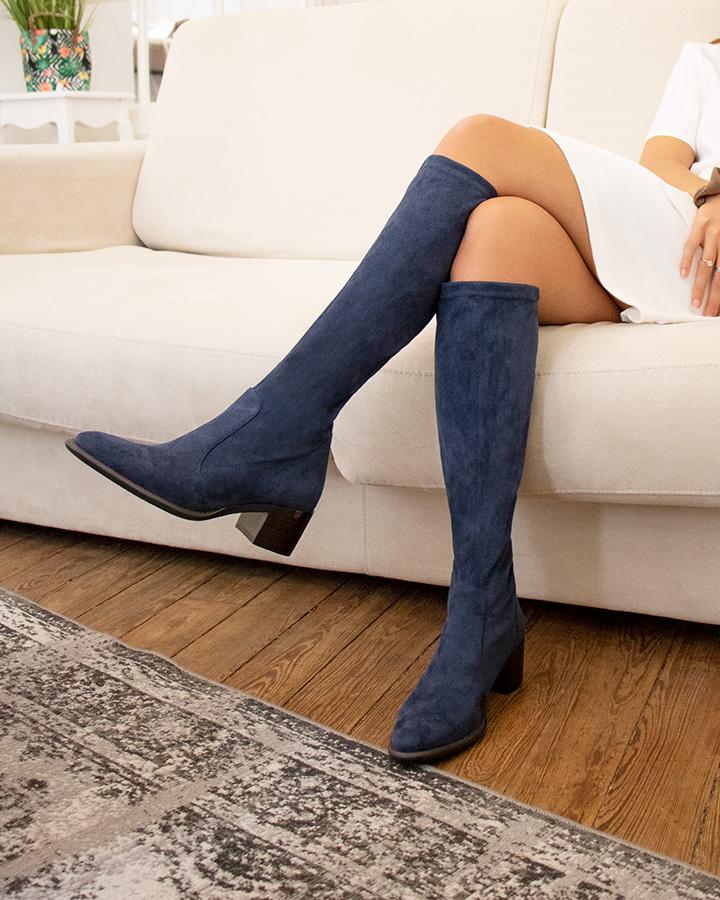 bottes stretch femme marine