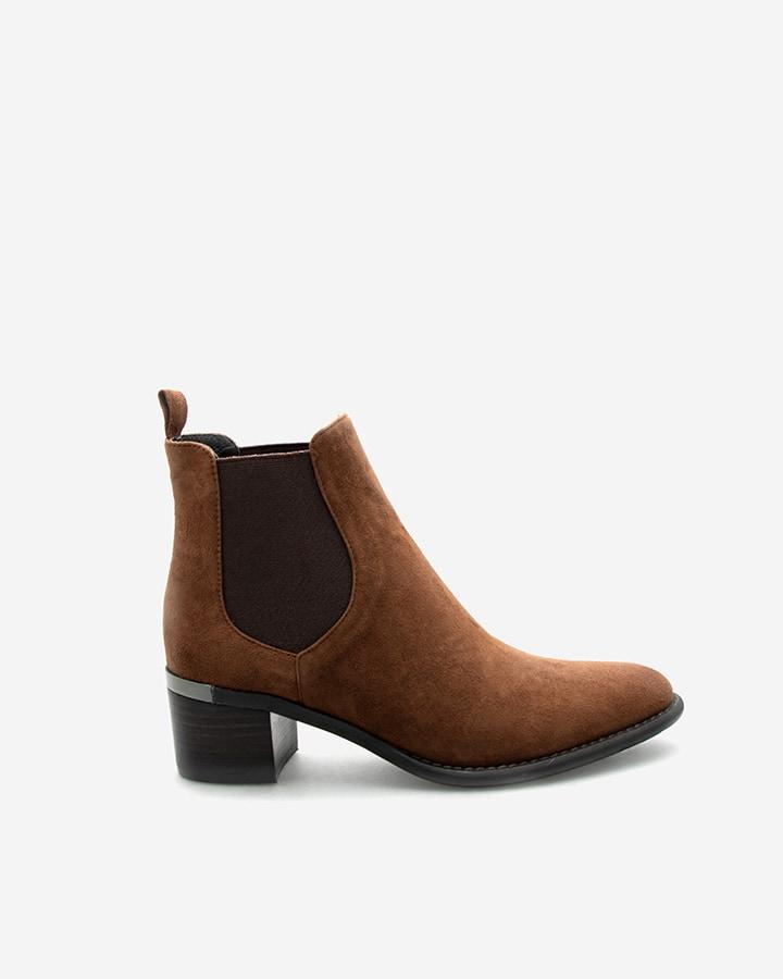 Boots féminine Diva velours camel