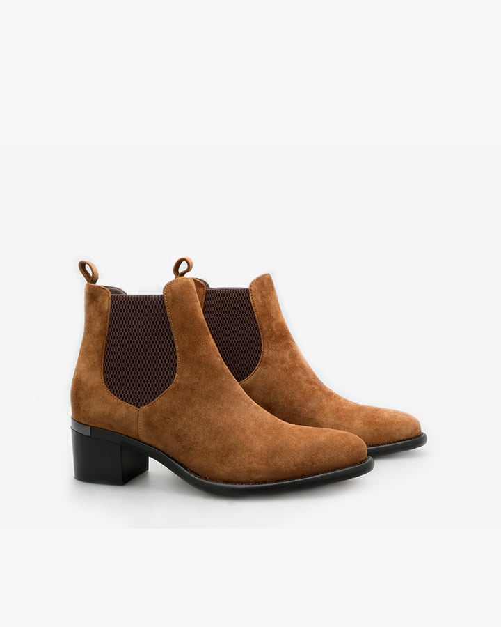 boots cuir marron femme
