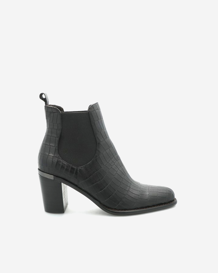 BOTTINES INTEMPORELLES FANNY CROCO NOIR