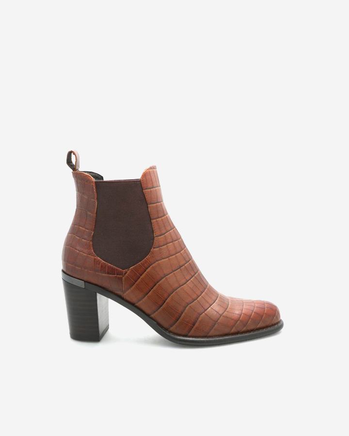 BOTTINES INTEMPORELLES FANNY CROCO TABAC