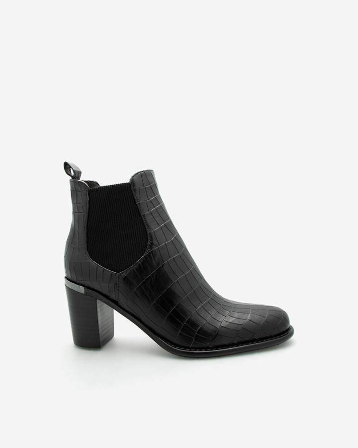 bottine chic Fanny croco noir
