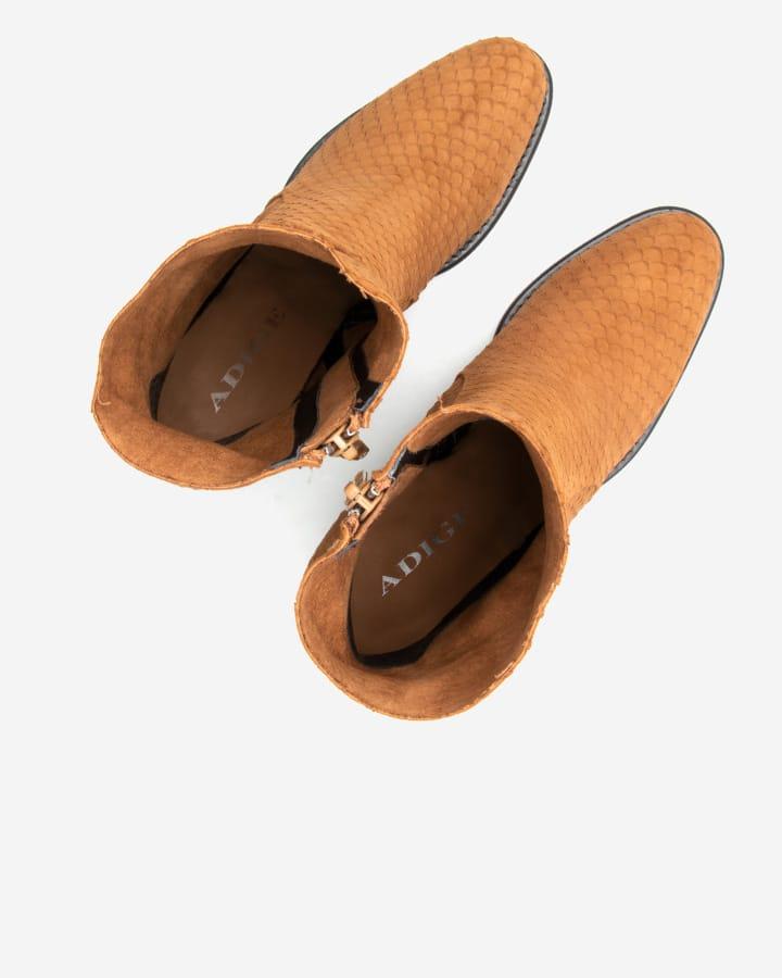 Fara | High Boots Chèvre Velours Tabac