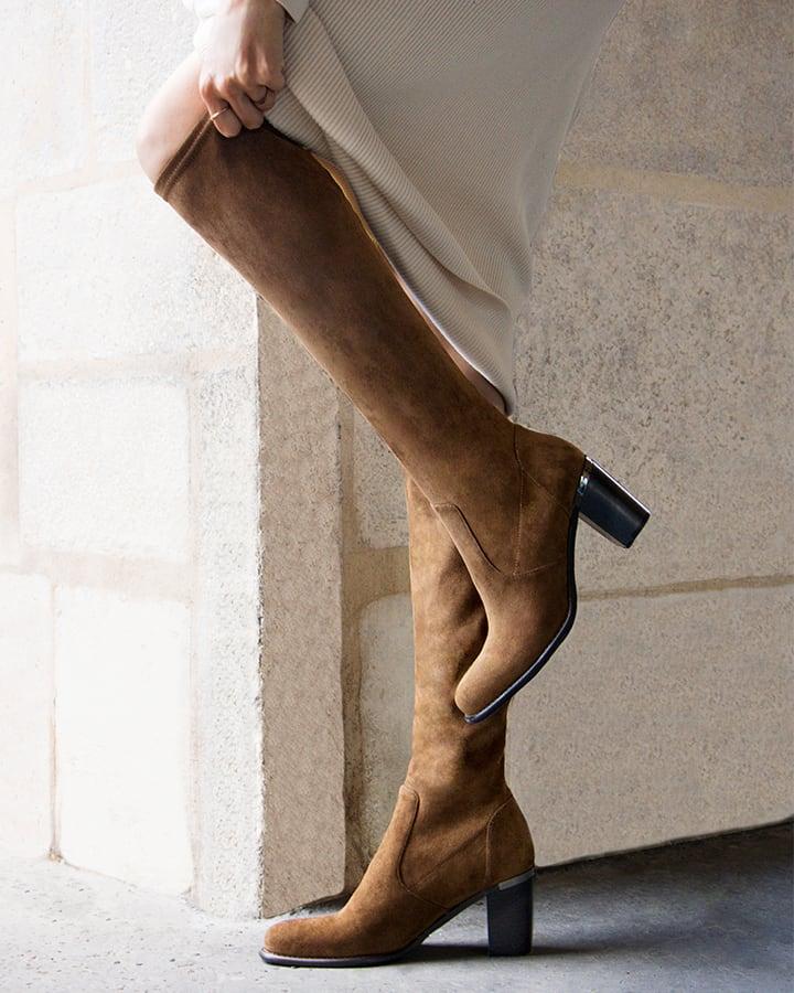 bottes stretch femme camel