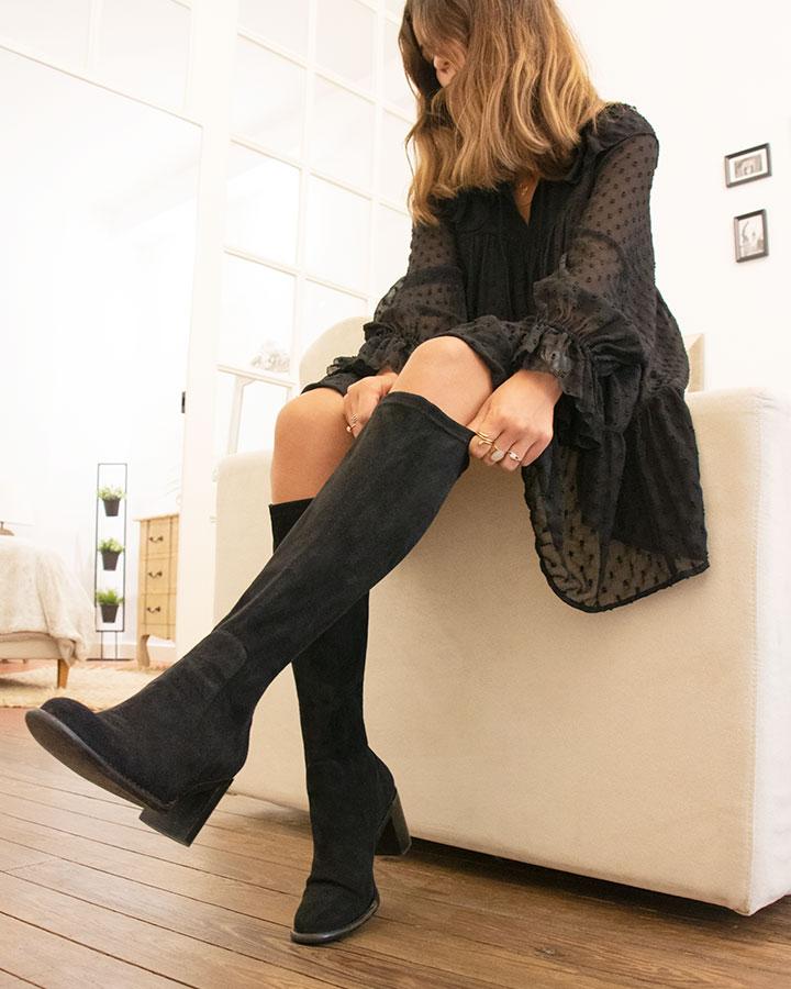 Bottes stretch Fiona Femme noire
