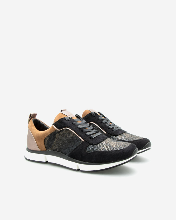 Sneaker Chic Vanille Cuir Reptile