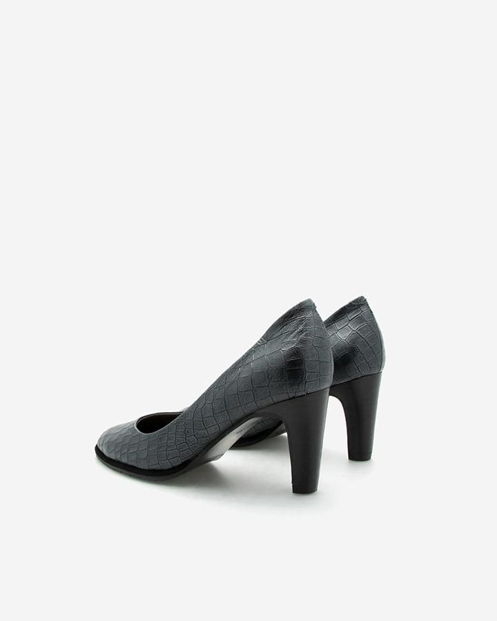 Escarpins Alma en cuir imitation croco noir