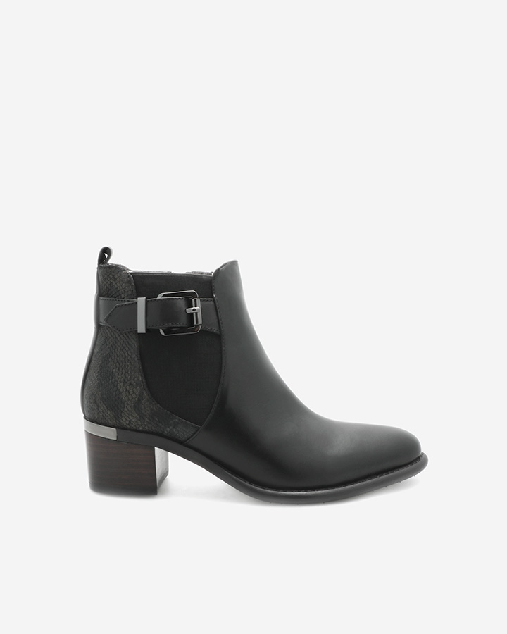 Bottines Destin femme imitation serpent cuir noir
