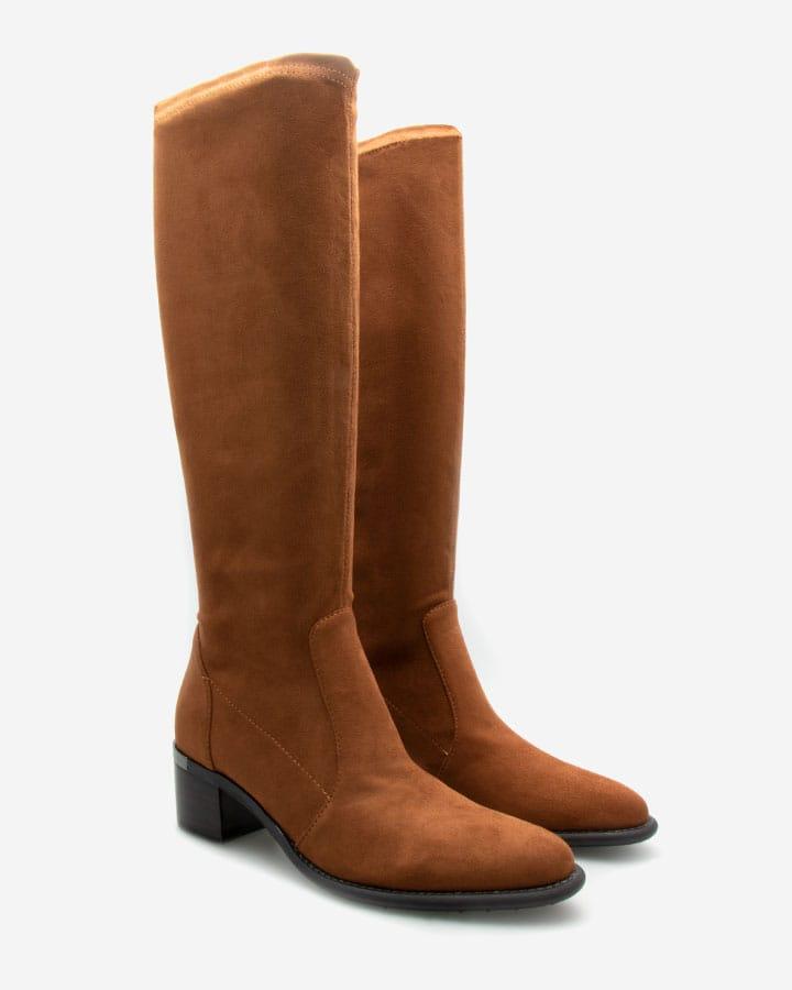 bottes intemporelles diane velours camel femme