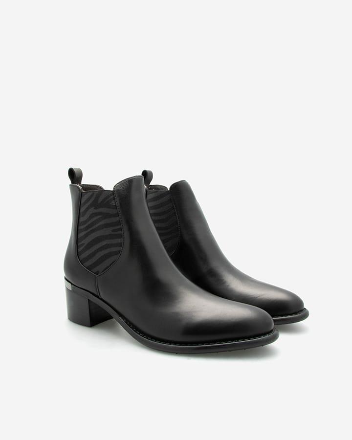 Bottines cuir noir Diva élastique imprimé zèbre