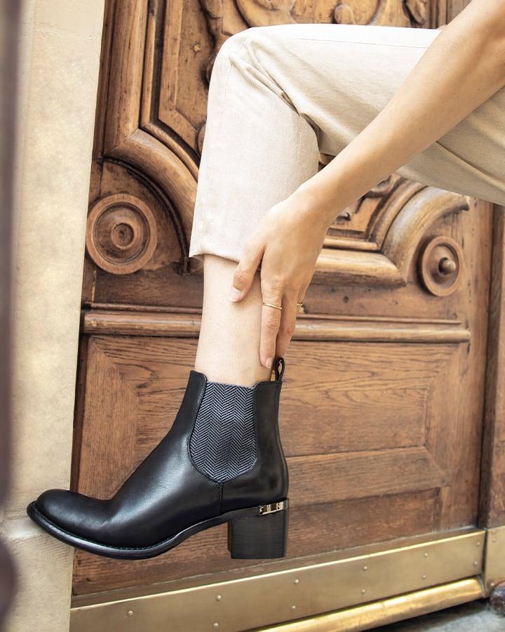 boots chelsea cuir noir
