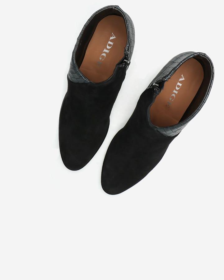 low boots féminines Agathe velours noir
