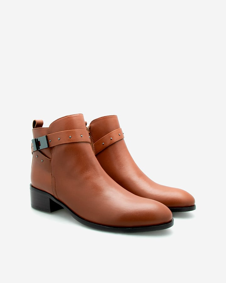 Boots Cathy cuir vachette marron femme