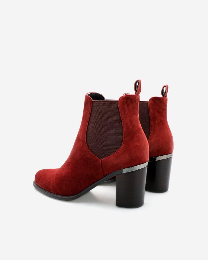 Bottines chic velours rouge bordeaux femme