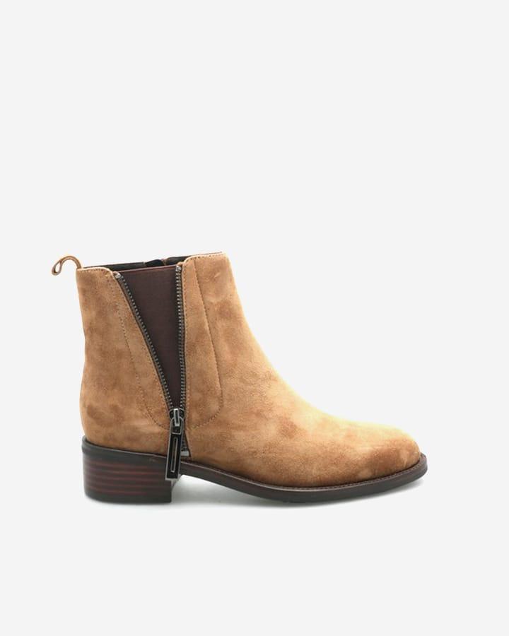 Boots beige velours cuir femme