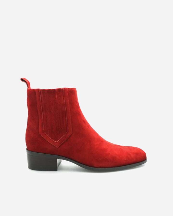Boots rouge Carla femme velours