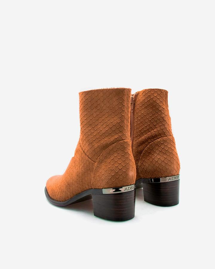 Boots Dan velours écaille tabac