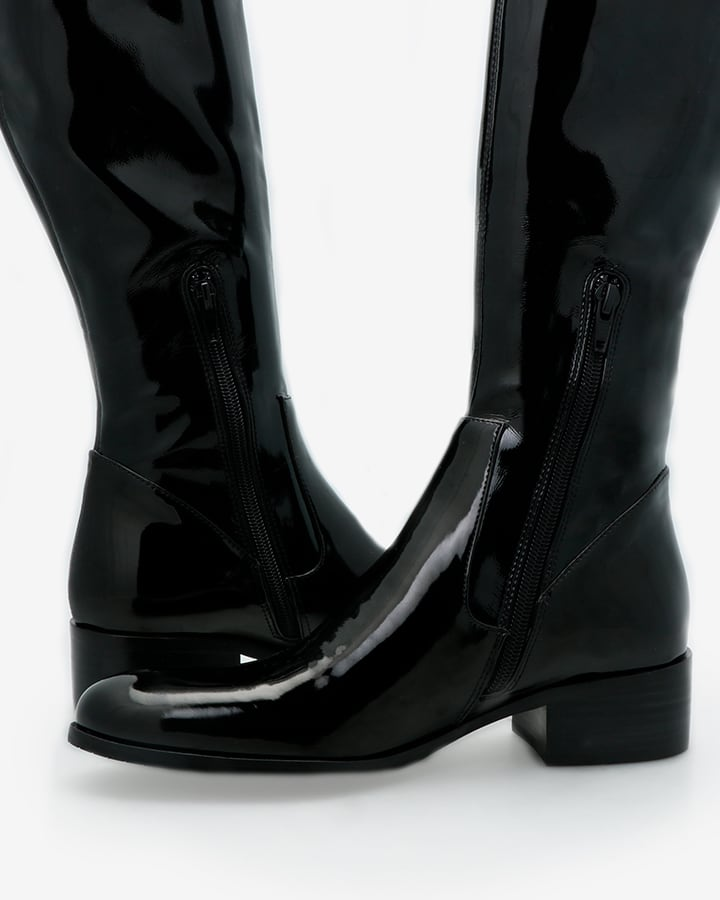 bottes stretch vernis noir