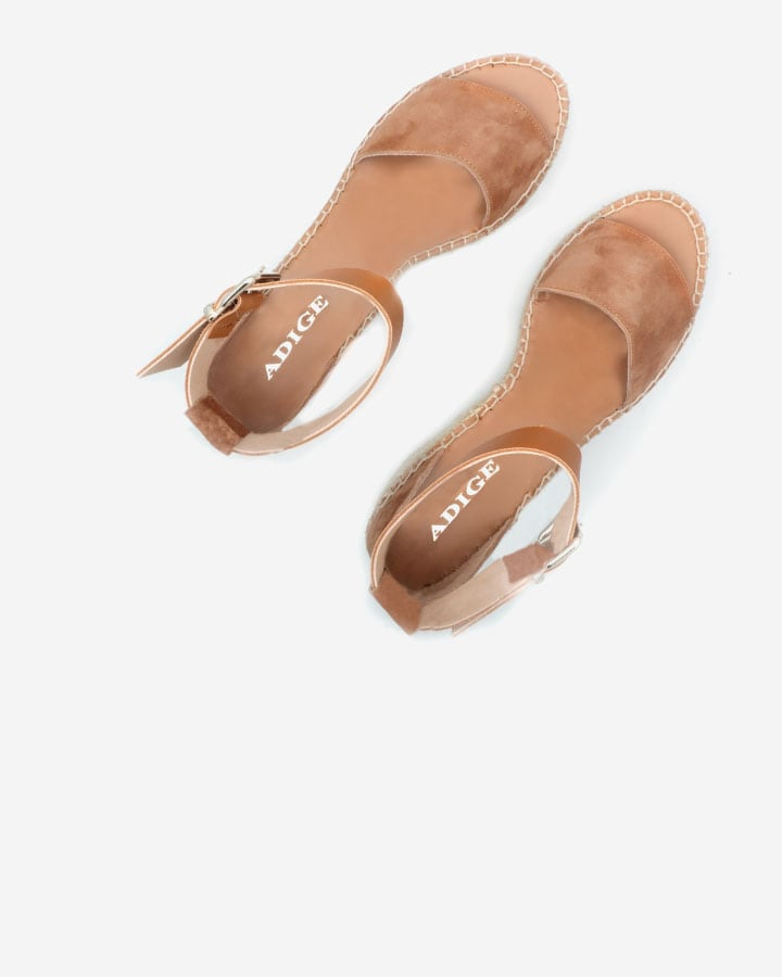 ESPADRILLE COMPENSEE VELOURS CAMEL