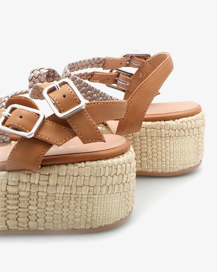 Sandale Compensée Chic Camel
