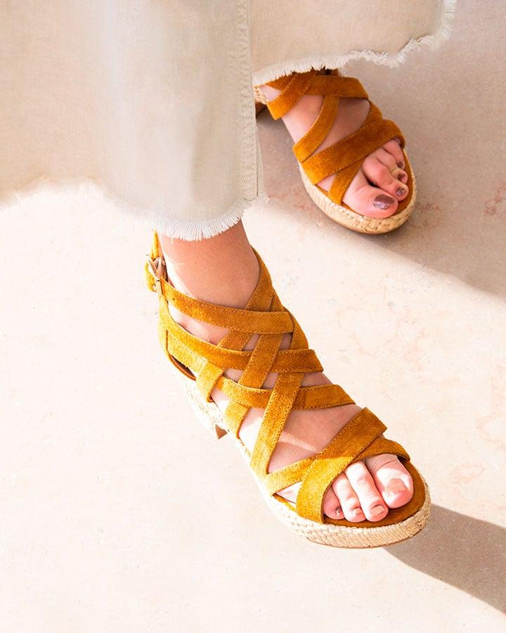Sandale Cuir Velours Camel Femme