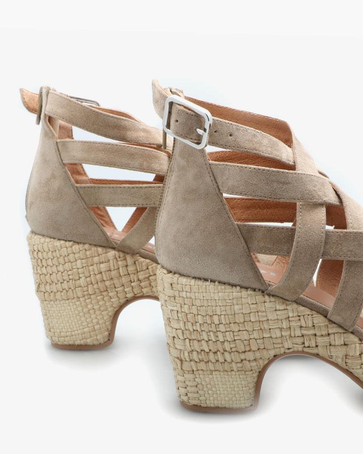 Sandale Cuir Velours Kaki Femme