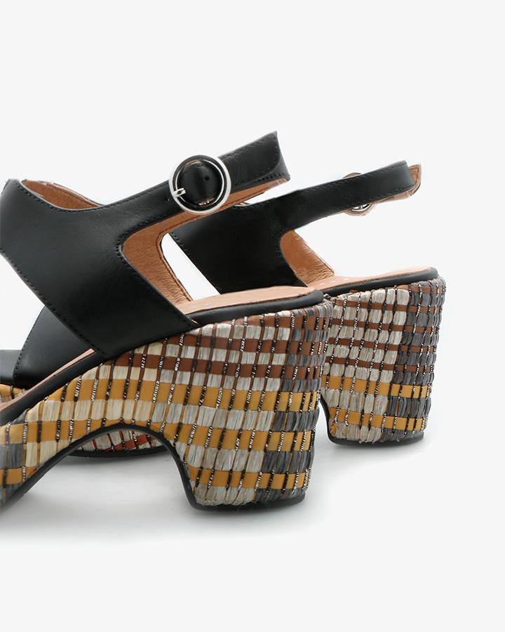 Sandale Semi-Compensée Cuir Noir